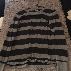 Black and grey long sleeve shirt.